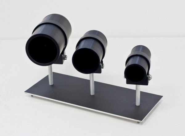 3 black coated tube shaped laser beam dumps